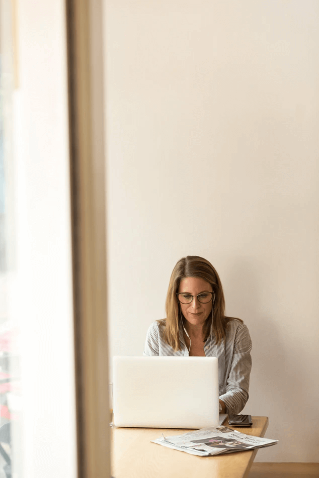 Woman working remotely